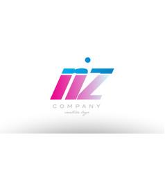 nz n z alphabet letter combination pink blue bold vector image vector image