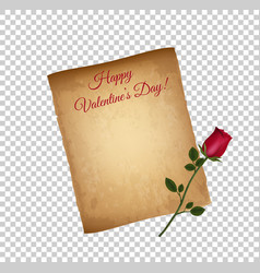 old grungy parchment paper and red elegant rose vector image