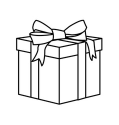 outline wrapped gift box decorated with big ribbon vector image