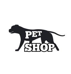 pet shop logotype design canine animal silhouette vector image