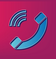 phone sign blue 3d printed vector image