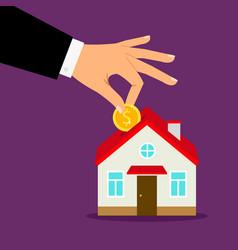 Piggy bank house concept house bank savings hand vector