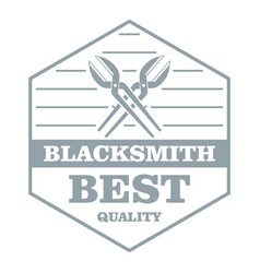 Quality blacksmith logo simple gray style vector