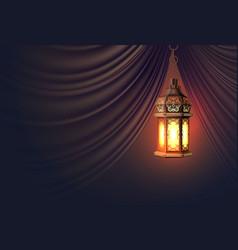 Ramadan kareem lantern realistic curtain vector