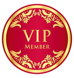 Red VIP member badge with golden vintage pattern vector