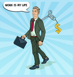 robotic businessman with key of his back pop art vector image vector image