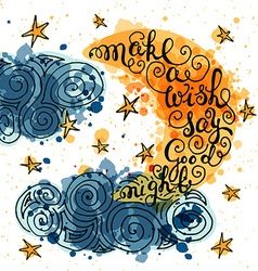 Romantic quote Make a wish say good night vector image