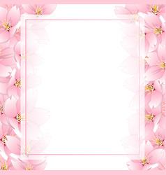 sakura cherry blossom banner card border vector image
