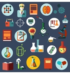 Science and research flat icons vector