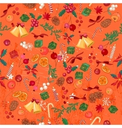 Seamless bright orange pattern with traditional vector