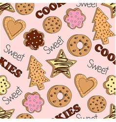 seamless pattern with home made cookies vector image