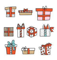 set christmas cute colorful presents vector image