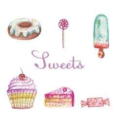 Set of different watercolor sweets vector
