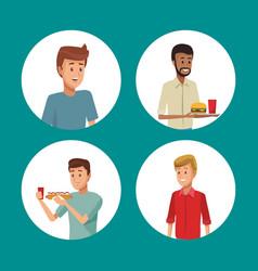 Set of people eating cartoons vector