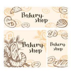 Set of vintage bakery banners vector