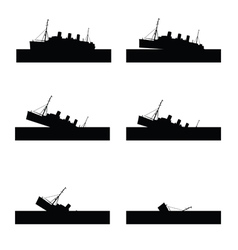 Ship sinking in black color vector
