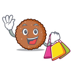 Shopping chocolate biscuit character cartoon vector