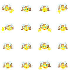 Smilies girl with different emotions and gestures vector