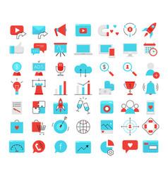 social media marketing modern flat icons set vector image