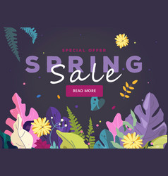 spring sale banner leaves and spring flowers vector image