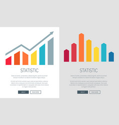 statistic charts on promo internet banners set vector image