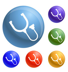 stethoscope thermometer icons set vector image