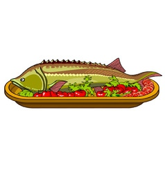 Sturgeon fish baked with vegetables on a platter vector