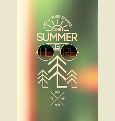 summer typographical poster on blurry background vector image