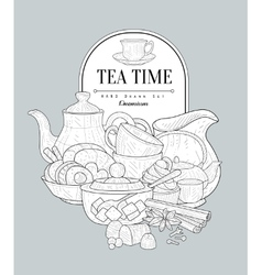 Tea Time Vintage Sketch vector image