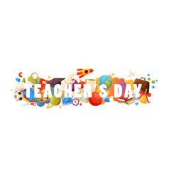 teachers day background cartoon template vector image