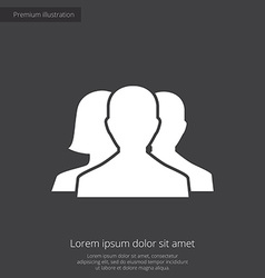 team premium icon white on dark background vector image