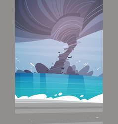 tornado incoming from sea hurricane in ocean beach vector image