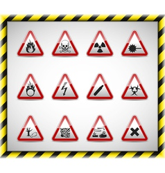 Triangel danger sign set vector