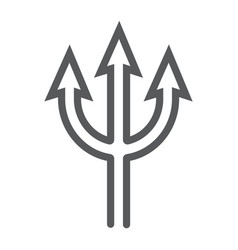 Trident line icon spear and devil pitchfork sign vector