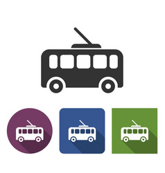 trolleybus icon in different variants with long vector image