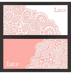 Vintage fashion lace banners with abstract flowers vector
