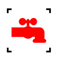 Water faucet sign red icon vector