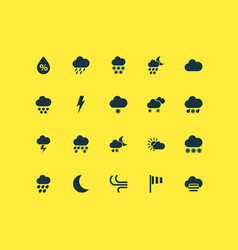 Weather icons set with winter breeze deluge and vector