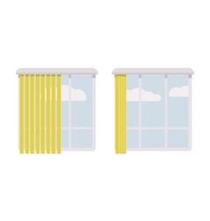 Windows with open and halfopen greeen jalousie vector