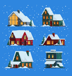 winter houses christmas cute wooden buildings vector image