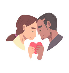 young couple in love holding heart vector image