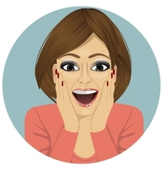 young happy smiling surprised woman vector image