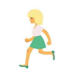 Young smiling girl in casual clothing running in vector