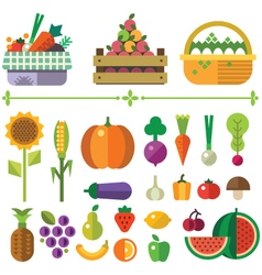Basket with fruits and vegetables vector image vector image