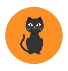 Black cat icon flat vector image