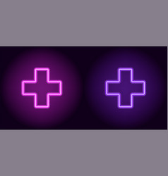 purple and violet neon medical cross vector image