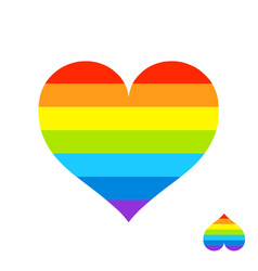 rainbow heart with lgbt color stripes symbol of vector image vector image