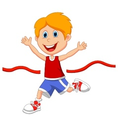 Cartoon boy ran to the finish line first vector image vector image