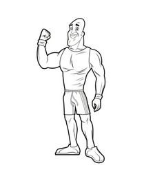 Man athletic bodybuilding sport image line vector