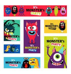 monsters banners set or monster labels for kids vector image vector image